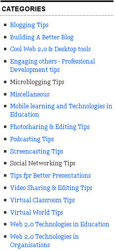 Image of categories used on my personal blog