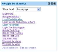 Image of Google Bookmarks gadget