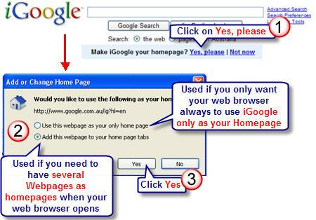 Image of setting iGoogle as homepage