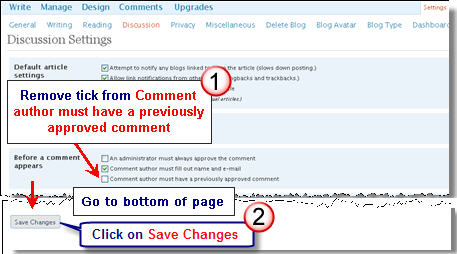 Image of changing comment moderation setting