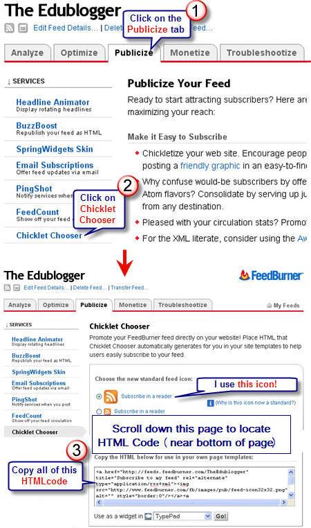 Image of Feedburner code