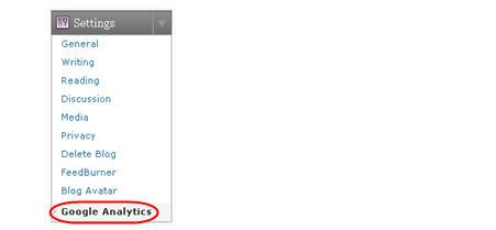 Image of Google Analytics tab