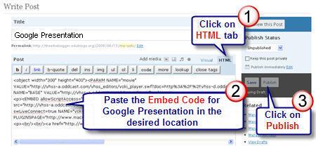 Image of Embedding Google Presentation code