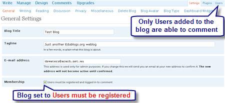 Image of registered user setting