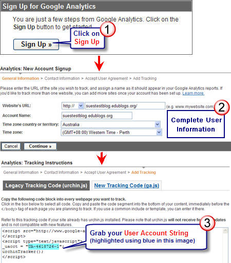 Image of Google Analytics sign up