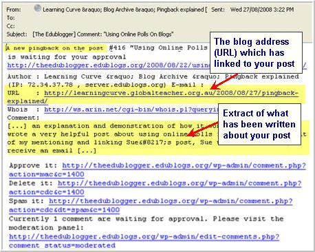 Image of a pingback email explained