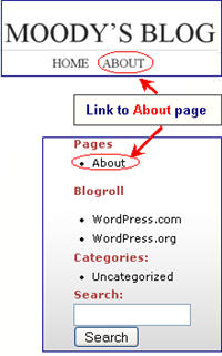Image of how to find the about page
