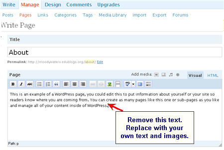 Image of editing about page text