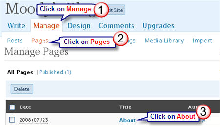 Image of Editing About page