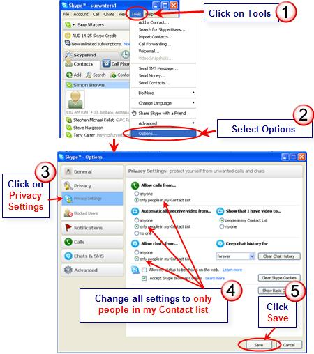Image of chaning privacy settings