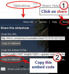 Image of grabbing the embed code for a slideshow