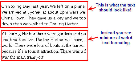 Example of what text might look like when pasted from Word