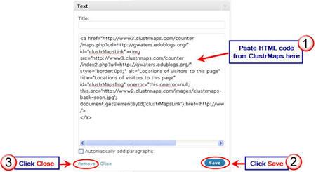 Image of adding clustrmaps code to text widget