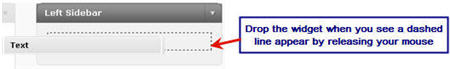 Image of adding text widget to sidebar