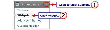 Image of widgets menu