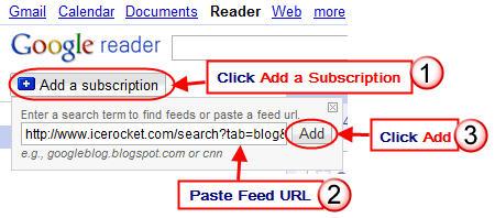 Image of adding Ice rocket RSS to Google Reader