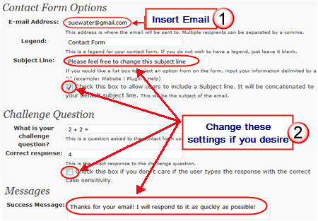 Changing contact form details