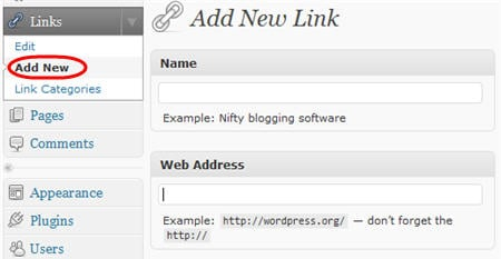 Links > Add New page