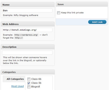 Adding student blogs to link categories
