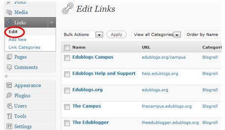 Links > Edit page