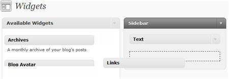 Adding Links widget to sidebar