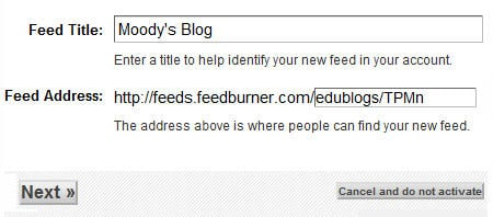 Feedburner title and URL