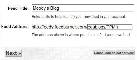 Feedburner title and URL