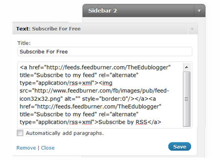 Adding Feedburner HTML to Text widget