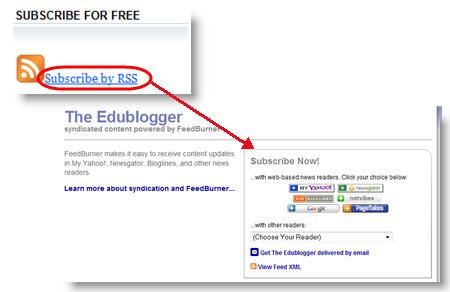 Example of Feedburner RSS feed in a blog sidebar