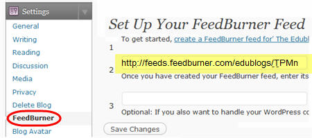Redirecting feed to FeedBurner