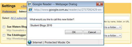 Naming your Google Reader folder