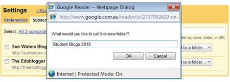Naming your Google Reader folder
