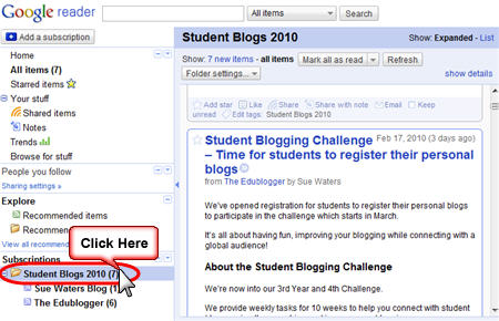 Go to the folder that contains your student blogs