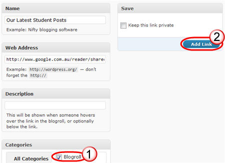Adding link to blog roll