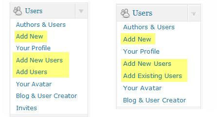 User menu items