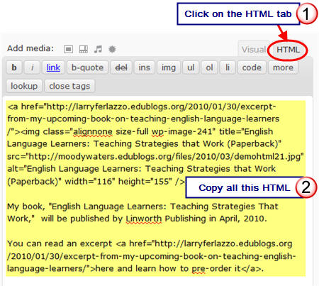 Code the HTML code from the HTML tab