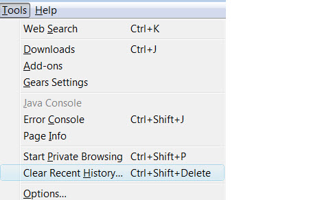 Clearing private data in FireFox