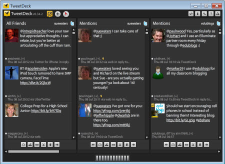 Example of TweetDeck a Twitter client