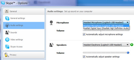 Selecting your Microphone and Speakers