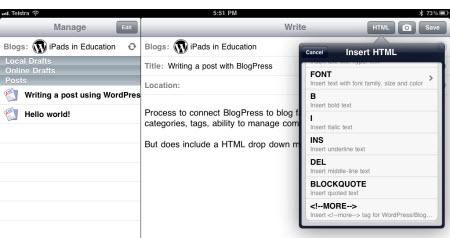 Using the BlogPress simple HTML toolbar