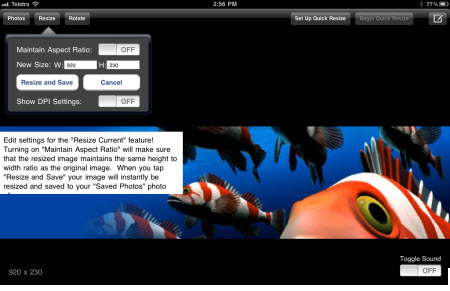 Resizing an image on an iPad