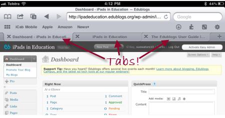 Tab browsing in iCabmobile on an iPad