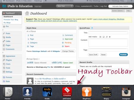 Accessing your iPad toolbar