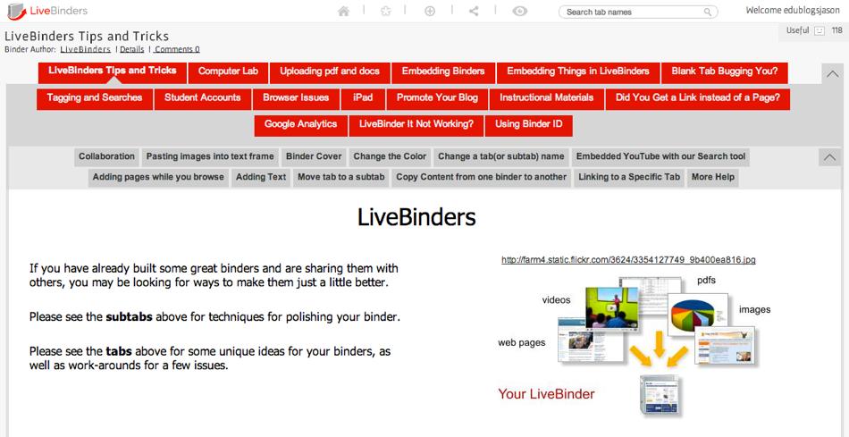 livebinder sample binder