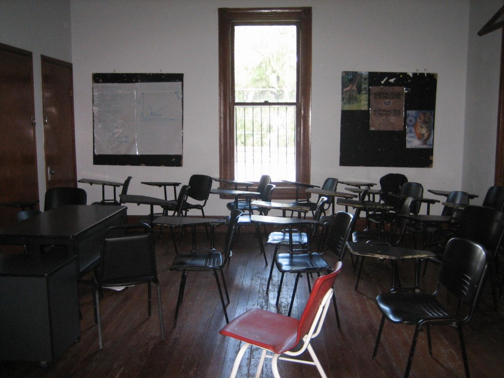 My classroom (a converted bedroom) that I shared with two other teachers.