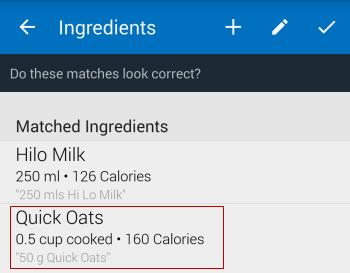 Tap on ingredient