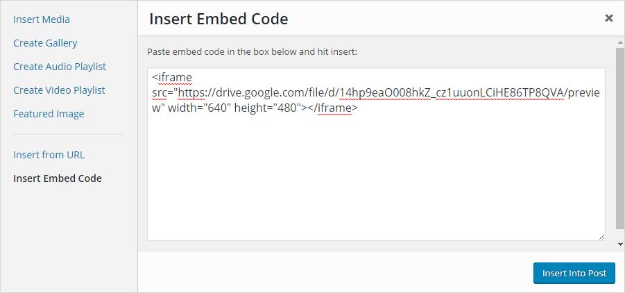 Add embed code