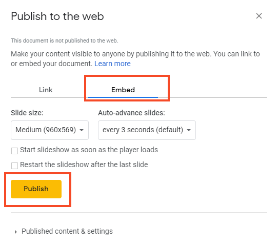Click on embed and then publish (screenshot)