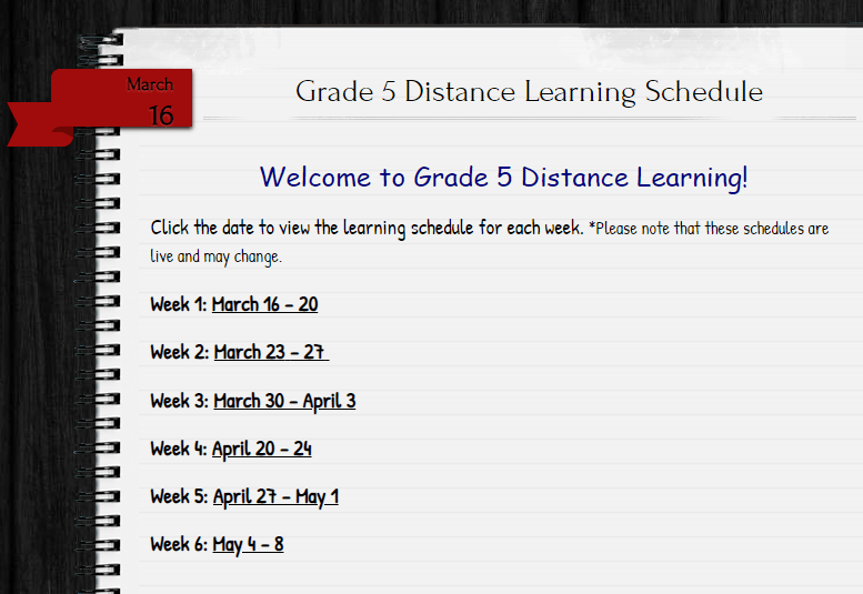Screenshot page distance learning schedule